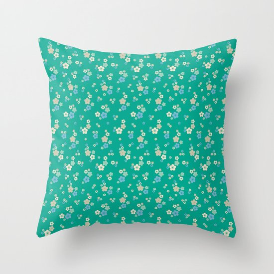 blossom ditsy in emerald Throw Pillow