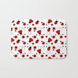 Red Ladybug Floral Pattern Bath Mat