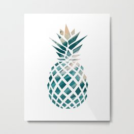 Tropical Teal Pineapple Metal Print