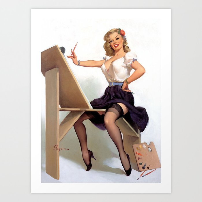 Vintage Pin Up Girl Artist Art Print By Retroroxie Society6