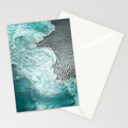 """Sea foam dancing on the blue ocean and gray sand"" Stationery Cards"