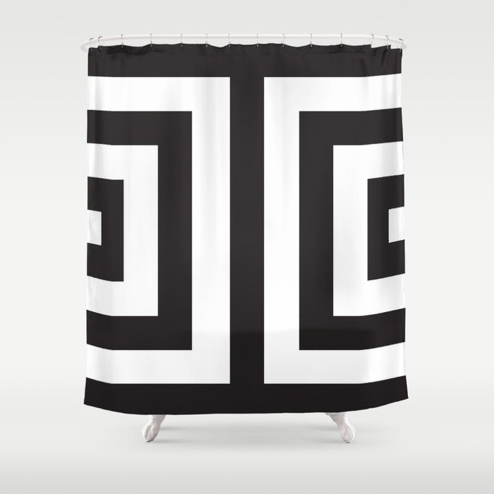 Black Greek Stripes Shower Curtain