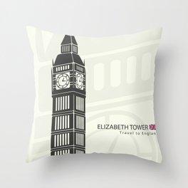 Elizabeth tower clock big Ben in London Throw Pillow