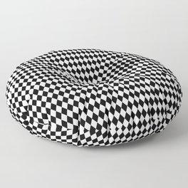 Black and White Harlequin Diamond Check Floor Pillow