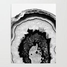 Gray Black White Agate with Black Silver Glitter #2 #gem #decor #art #society6 Poster