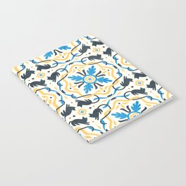 Floral and warm cat tile Notebook