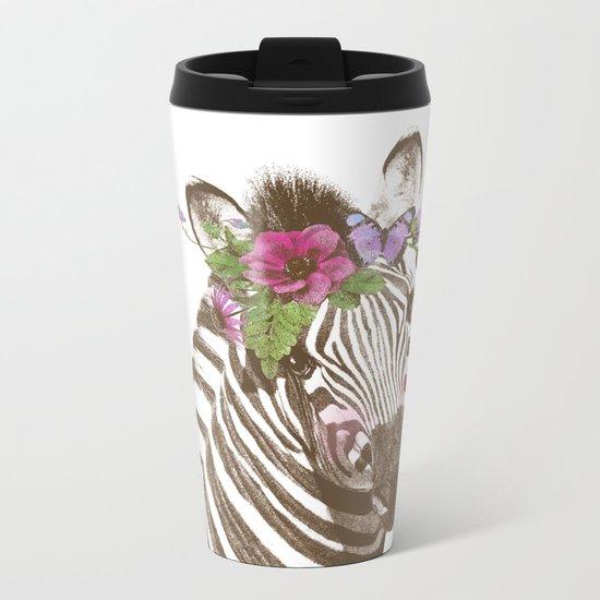 Zebra with flowers Metal Travel Mug