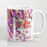 paris map Mugs featuring Paris by Nicksman