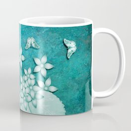 Teal on teal butterflies and flowers Coffee Mug