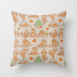 Christmas cookie yoga Throw Pillow