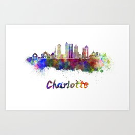 Charlotte skyline in watercolor Art Print