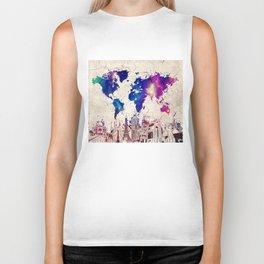 world map city skyline galaxy 2 Biker Tank