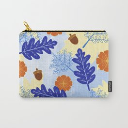 Falling Leaves in Winter Blue Carry-All Pouch