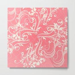 Pink swirls. Vector floral deisgn Metal Print