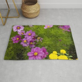Alaskan Colorful Wild Flowers Serpentining Through Lush Grass Rug