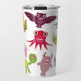 Sticker set Funny monsters collection on white background Travel Mug