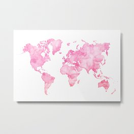 Pink watercolor world map Metal Print