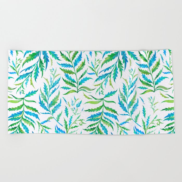 Leaves Green And Blue Beach Towel