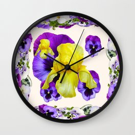 WHITE PANSY & IRIS  GARDEN ART DESIGN Wall Clock