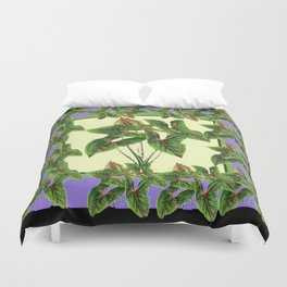 Green Tropical Botanical Foliage  Lilac-Black Art Duvet Cover