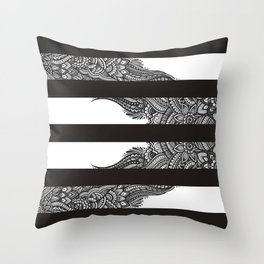 Black and White stripes with Henna style freehand floral doodle design Throw Pillow