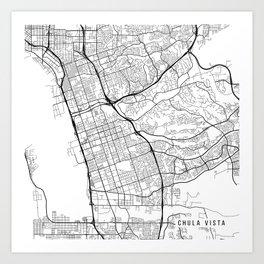 Chula Vista Map, USA - Black and White Art Print