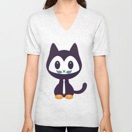 Cute kitten wearing tie Unisex V-Neck