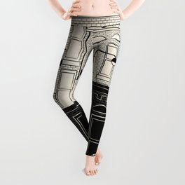 My Dream View - Illustration New York City Block in Black and White Leggings