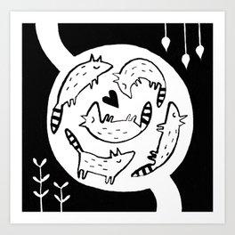 Raccoon Nest Art Print