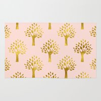 gold foil Area & Throw Rugs featuring Pink Gold Foil 02 by Aloke Design