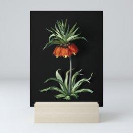 Vintage Fritillaries Botanical Illustration on Black (Portrait) Mini Art Print
