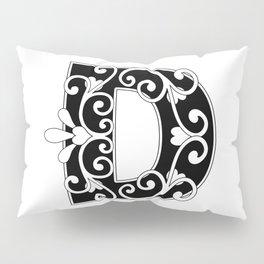 Letter D Scroll Initial Pillow Sham