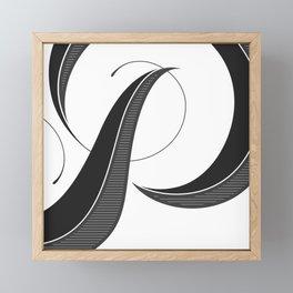 Letter P - Script Lettering Cropped Design Framed Mini Art Print