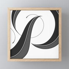 Letter P - Script Lettering Cropped Design Framed Mini Art Print