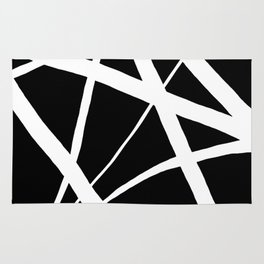 Geometric Line Abstract - Black White Rug