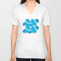 escher V-neck T-shirts featuring Escher #009 by rob art | simple