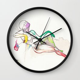 Apathy, anatomical female nude reclining, NYC artist Wall Clock