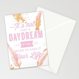 inspirational quote boho feathers style turn your dreams into reality Stationery Cards