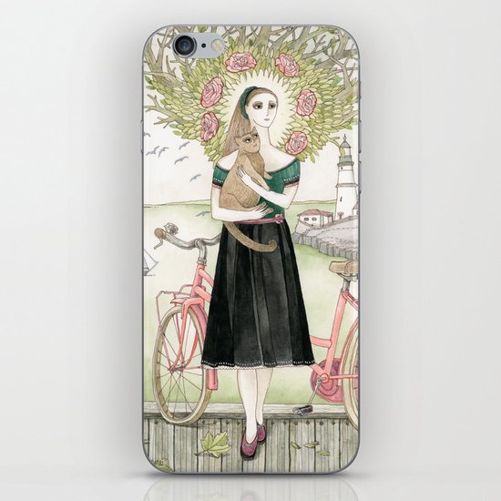 Girl and cat with pink bicycle iPhone & iPod Skin