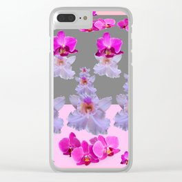 PURPLE  FUCHSIA ORCHIDS  SPRINKLES ON  GREY-PINK ART Clear iPhone Case
