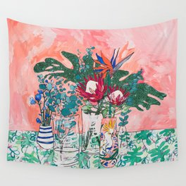 Cockatoo Vase - Bouquet of Flowers on Coral and Jungle Wall Tapestry