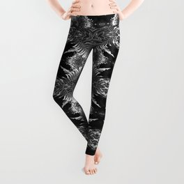 Ostrich Fern in Black and White Leggings