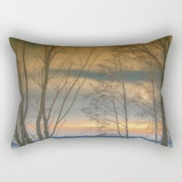 Evening sun over a lake Rectangular Pillow