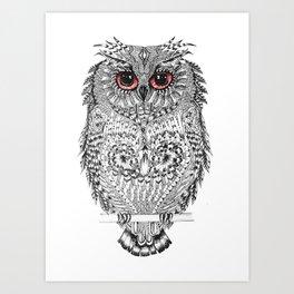 The Owl - Line Art Art Print