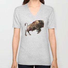 Bison, Bull, animal woodland, bison art, wildlife design Unisex V-Neck
