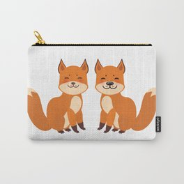 cute fox, boy and girl with funny face and fluffy tails on white background Carry-All Pouch