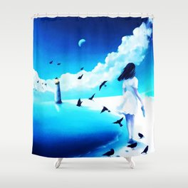 Lighthouse At The Sea Shower Curtain