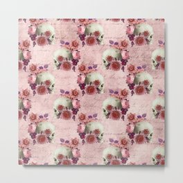 Pastel Goth pink floral skulls Metal Print