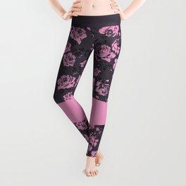 Blush Pink and Black Floral Print Rustic Roses Leggings