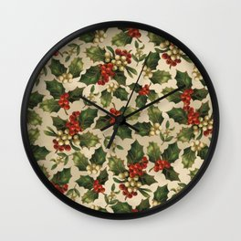 Gold and Red Holly Berrys Wall Clock